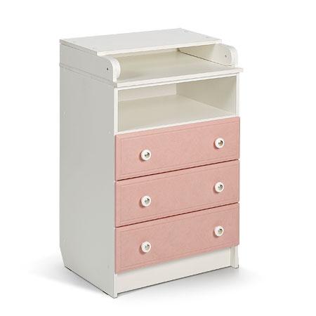 Комод пеленальный. Цвет: белый+розовый